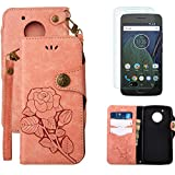 For Moto G5 Wallet Case with Screen Protector ,OYIME [ Elegant Vintage Rose ] Classic Design Flip Bookstyle Leather Holster with Wrist Lanyard Kickstand Magnetic Card Slots Function Full Body Protective Cover - Pink