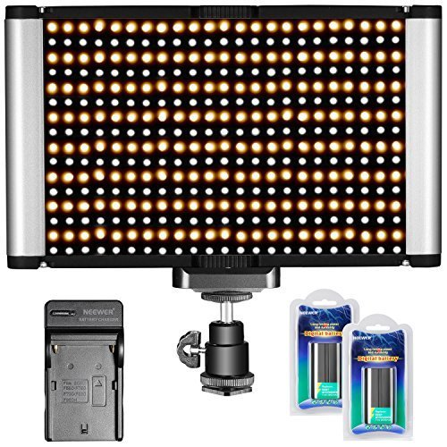 Neewer 280 LED Light Dimmable Bi-color Camera LED Video Lighting Kit: 280 LED Panel(CRI 95+ 3200K-5600K), 2 Pieces 2600mAh NP-F550 Replacement Battery and Charger for Canon Nikon DSLR Camera Camcorder