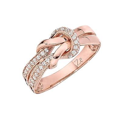 Amazon 10k Rose Gold Diamond Twist Knot Ring Jewelry