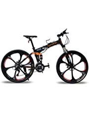 """Cyrusher® FR100 - Mountain bike da uomo pieghevole, completa di sospensioni e cambio Shimano M310 a 24 velocità, 17"""" x 26"""", freni a dischi in alluminio, colore nero"""