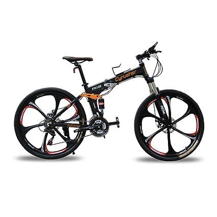 Bicicleta de montaña FR100, de la marca Cyrusher, con suspensión doble y 24 marchas, color negro