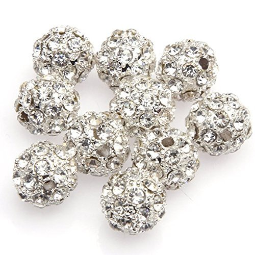 Beautiful Bead10mm Silver Crystal Rhinestone Disco Ball Beads for Bracelet Making?(10pcs) ()