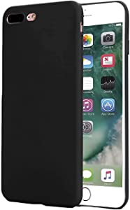 Slim Fit Case Compatible with iPhone 8 Plus Case/iPhone 7 Plus Case, Ultra Thin Soft Slim TPU Gel Case,Anti-Fingerprint Rubber Cover,with Matte Finish Coating Grip,Black
