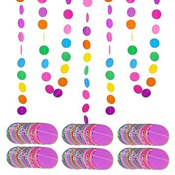 MEJOSER 24metros 6 Guirnaldas de Papel Redondas de Colores ...