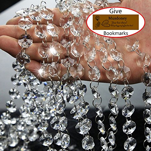 Musdoney 19.5 Feet Clear Crystal Beads Clear Chandelier Bead Lamp Chain for Wedding Party Tree Garlands Decoration, DIY Jewelry Making,and Other DIY Craft (Wedding Tree Decorations)