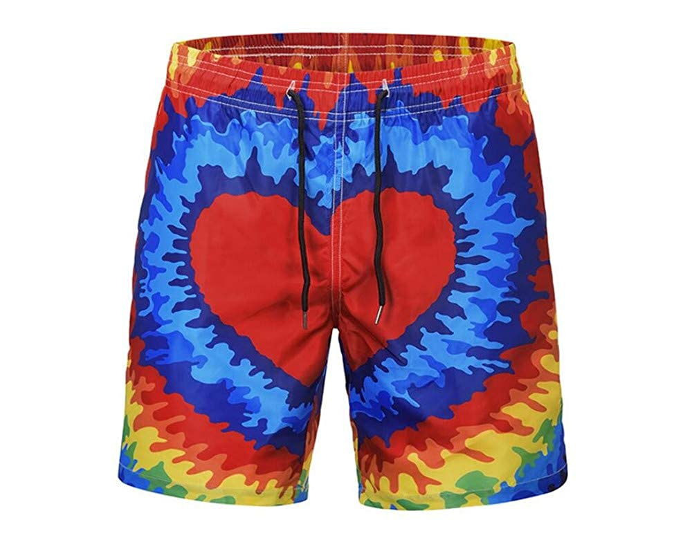 Smmer Heart-Shaped Printing and Quick-Drying Mens Swimming Trunks Casual Beach Pants