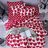 Mengersi Girls Heart Bedding Duvet Cover Sets Love Print 3 Pieces Kids Bedding Set With Zipper (King, Red)