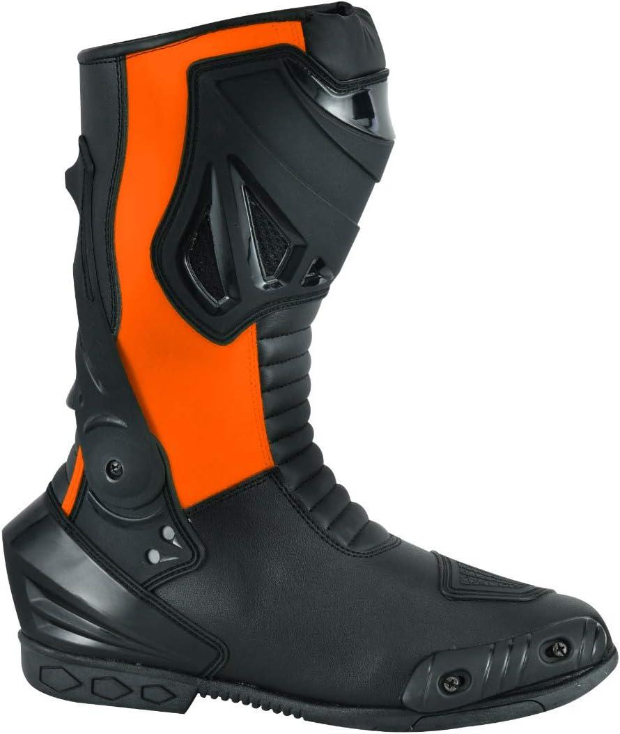 Noir Fluro, 48 EU JET Bottes Chaussures Moto Racing Homme Imperm/éable Armure Cuir