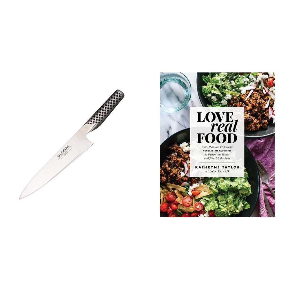 Love Real Food: More Than 100 Feel-Good Vegetarian Favorites to Delight the Senses and Nourish the Body & Global G-2 - 8 inch, 20cm Chef's Knife
