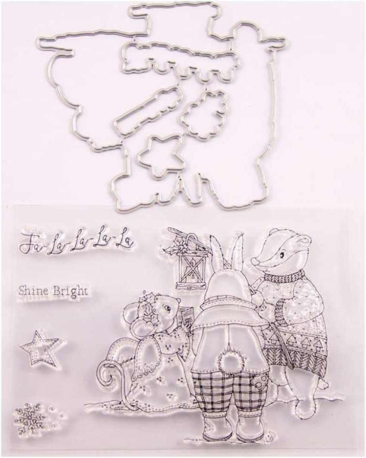 Hedgehog Tree Silicone Clear Stamp with Cutting Dies for DIY Scrapbook Album Paper Card Making Craft Die Cuts and Stamp Sets