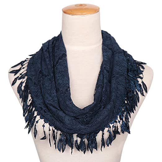Missshorthair Womens Lightweight Lace Infinity Scarf With Tassels