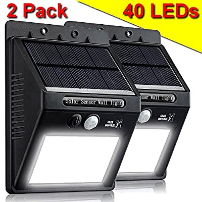 Outdoor Solar Power Motion Sensor Light - 2 Pack of Nyte Guard Super Bright 360 Lumens 20 LED - Wireless Weatherproof Exterior Wall Security Light for Porch, Yard, Patio, Deck, Pool, Garden