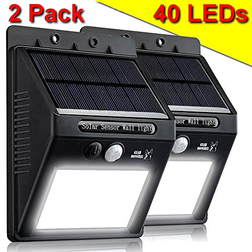 Gear Mongrel Outdoor Solar Powered Motion Sensor Lights - 2 Pack Super Bright 20 LED Wireless Waterproof Exterior Wall Security Lighting for Yard, Patio, Driveway, Deck, Garden, Steps, Fence, (Exterior Deck Lighting)