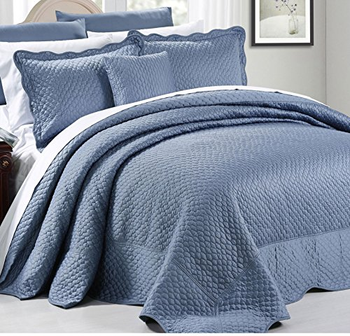 4 Piece Luxurious Blue King Bedspread Set, Geometric Themed Bedding Satin Stylish Modern Trendy Pretty Classic Elegant Satin Silky French Country Warm Scalloped Solid, Polyester by AD