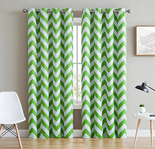 HLC.ME Chevron Print Thermal Insulated Blackout Window Curtain Panels, Pair, Chrome Grommet Top, Lime Green (Green Curtains Black)