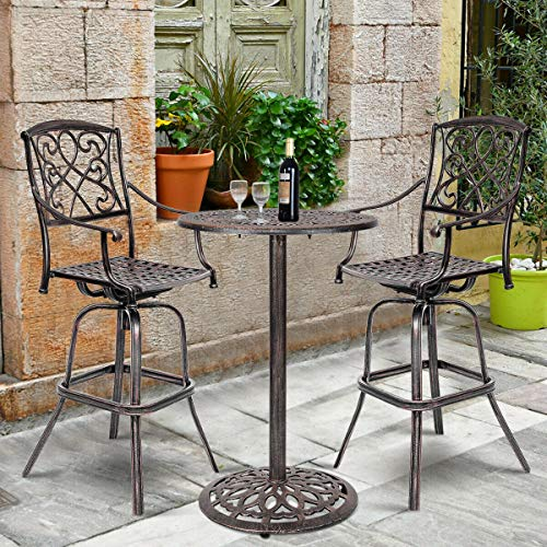 COSTWAY Bar Stool Set of 2, Cast Aluminum Vintage Retro Design Patio Outdoor Garden Bistro Furniture Set 2Copper Bar Stool