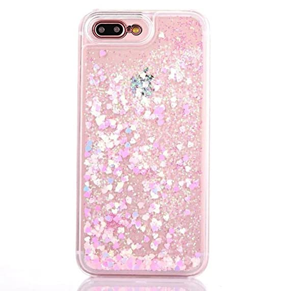 iPhone7 Shell, Shiny Love Heart Shaped Flowing Colorful Paillettes Liquid  Slim Cover, OMORRO Charming Floating Sand Ultralight Thin Case for iPhone 7