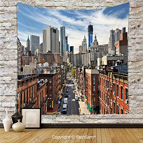 Polyester Tapestry Wall Lower Manhattan Cityscape Famous Travel Destination NYC Avenue Historical Hanging Printed Home Decor(W39xL59) ()