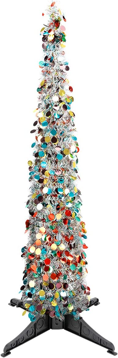 MADHOLLY 5ft Silver Tinsel Pop Up Christmas Tree- Collapsible Christmas Trees Shiny Colorful Tinsel Xmas Tree with Sequins for Holiday Xmas Home Office Shop Party Fireplace Small Apartment Decoration