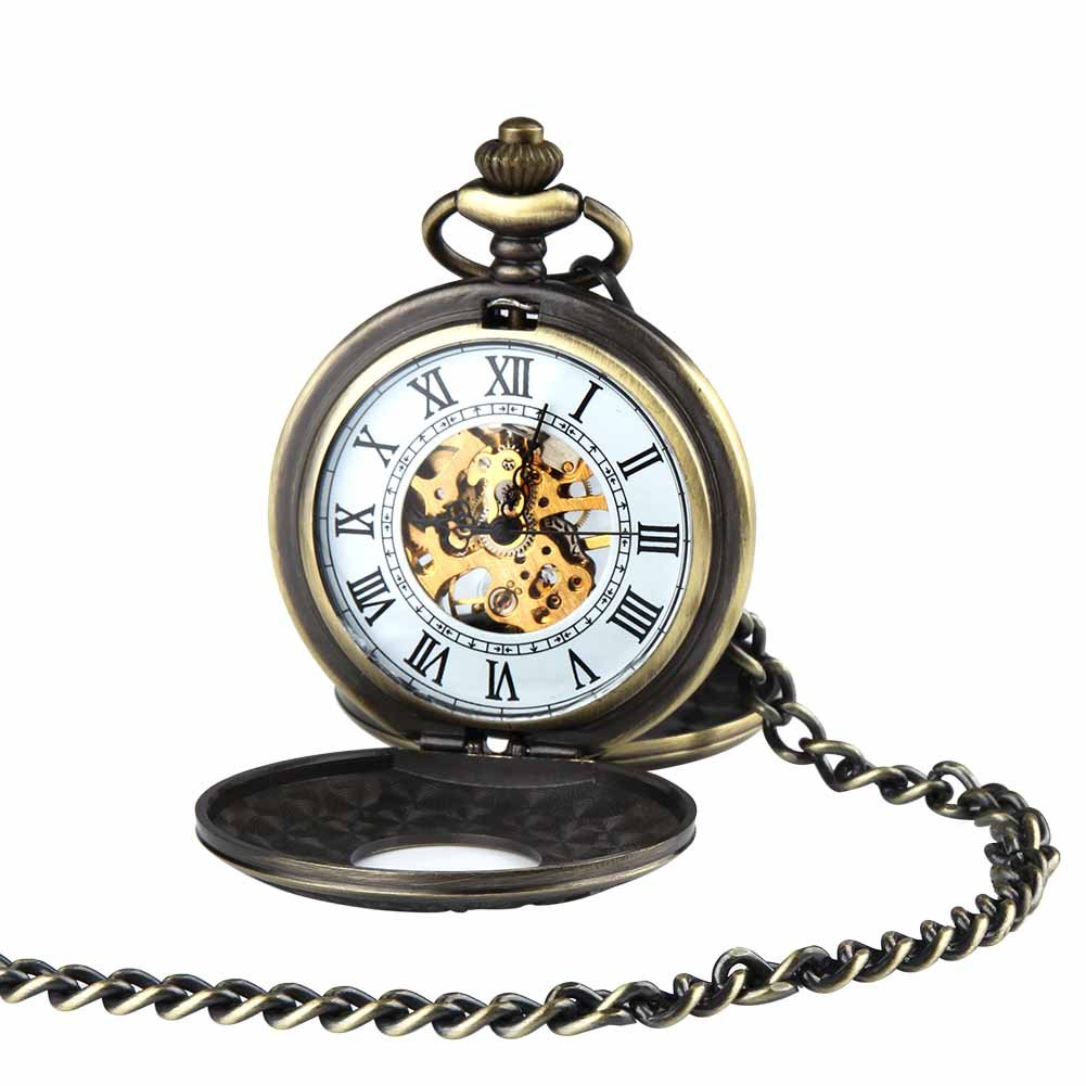 Antique Double Hunter Mechanical Pocket Watch for Men Women Retro Skeleton with Chain + Box by ielego