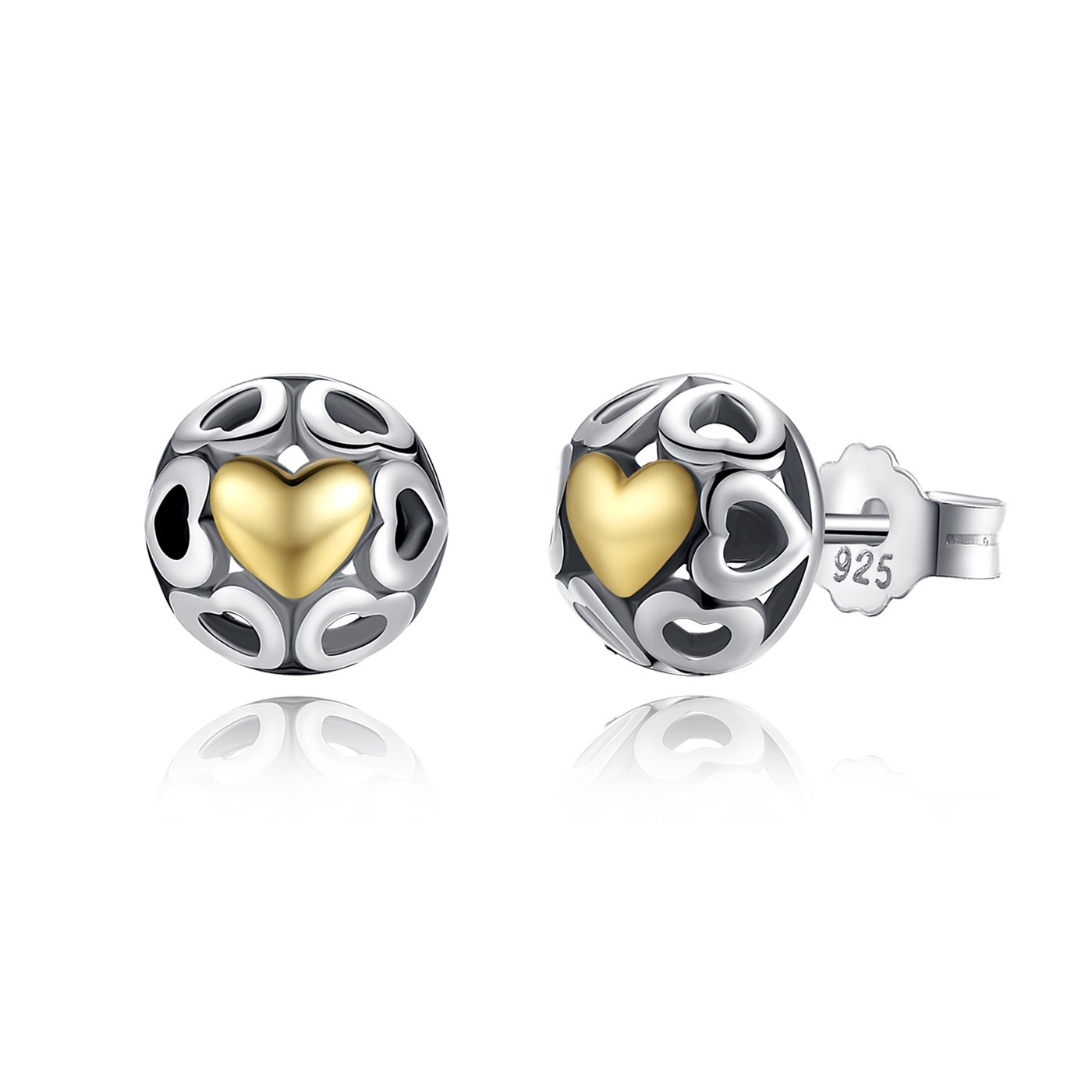 BAMOER 925 Sterling Silver One True Love Stud Earrings Two-tone Romantic Heart Yellow Gold Plated WEUS443+GiftBag2
