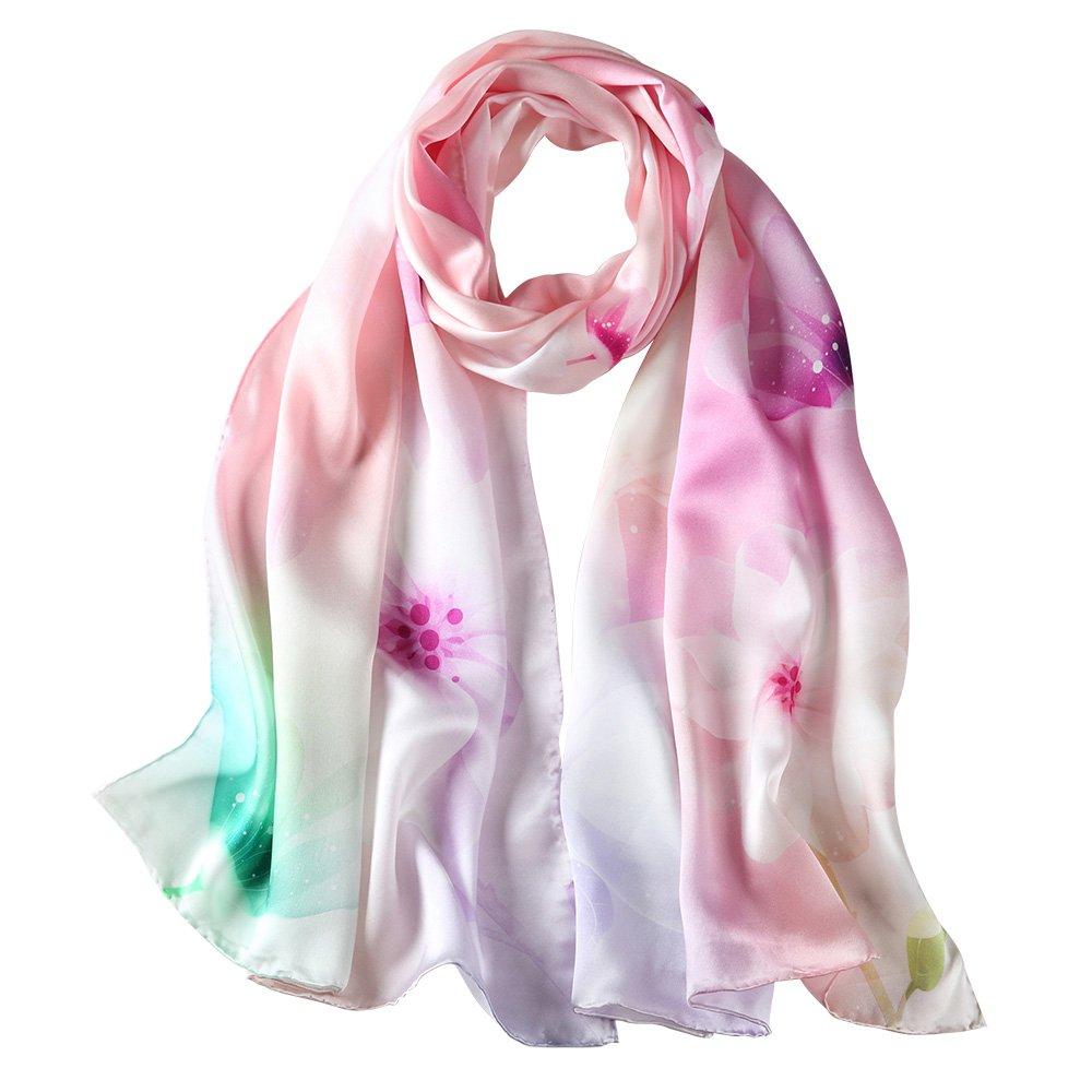 LEIDAI Womens 100% Silk Scarf Luxury Satin Floral Scarf Long Shawl Wraps