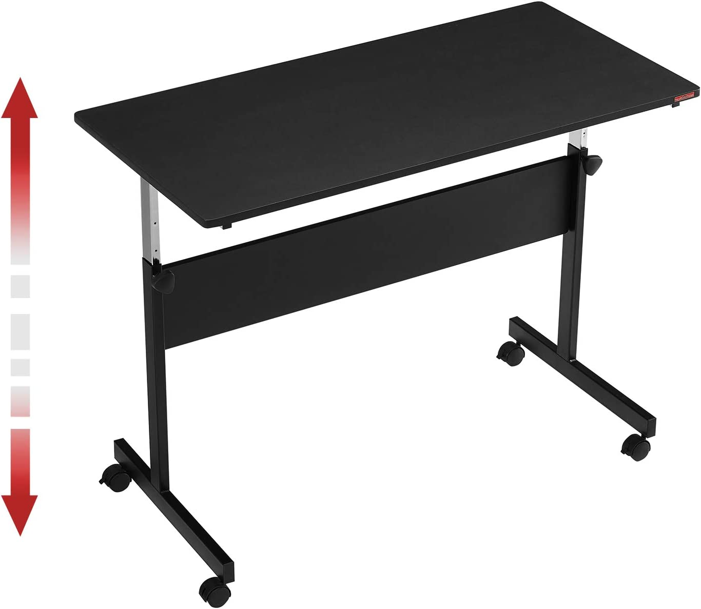 """Mr IRONSTONE Height Adjustable Desk Sit-Stand 47.6"""" Elevate Mobile Computer Desk Home & Office Utility Table with Rolling Wheels(Black)"""