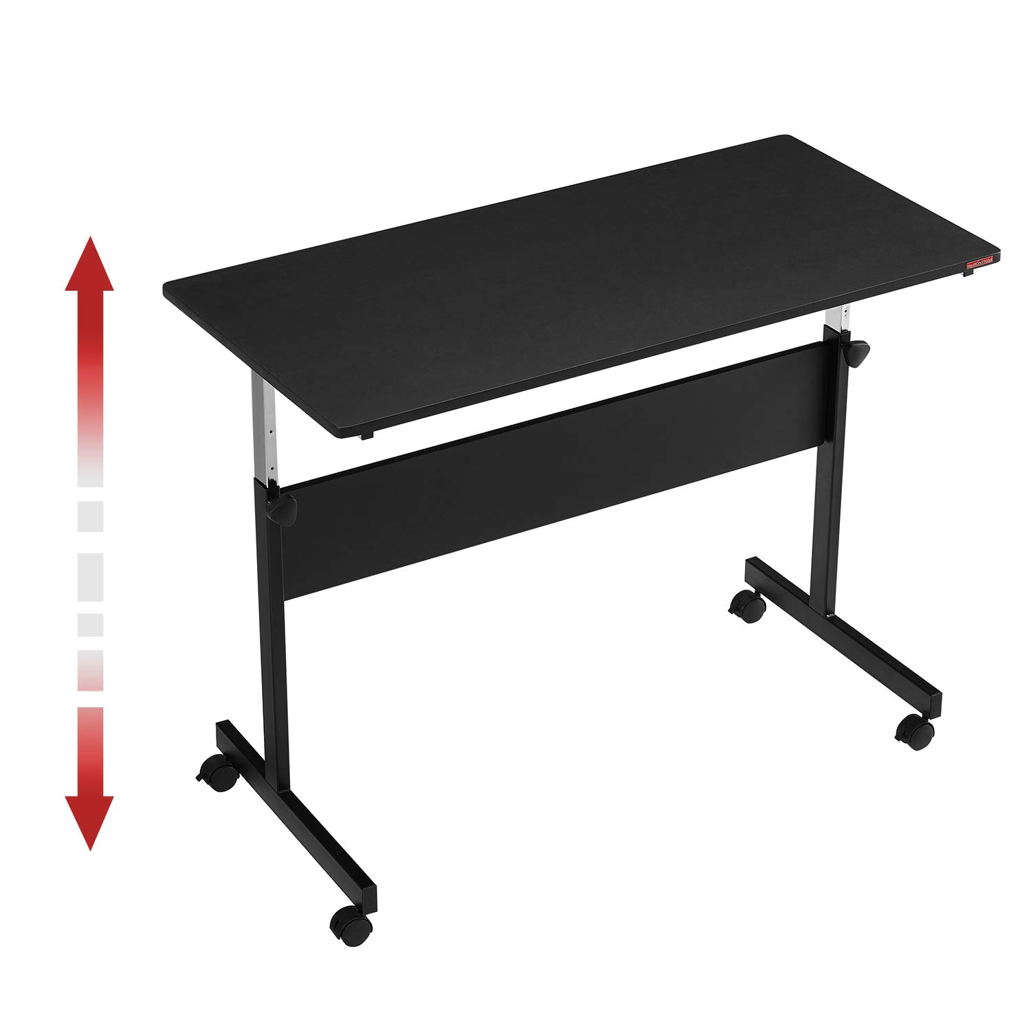 Mr IRONSTONE Height Adjustable Desk Sit-Stand 47.6'' Elevate Mobile Computer Desk Home & Office Workstation with Rolling Wheels(Black)