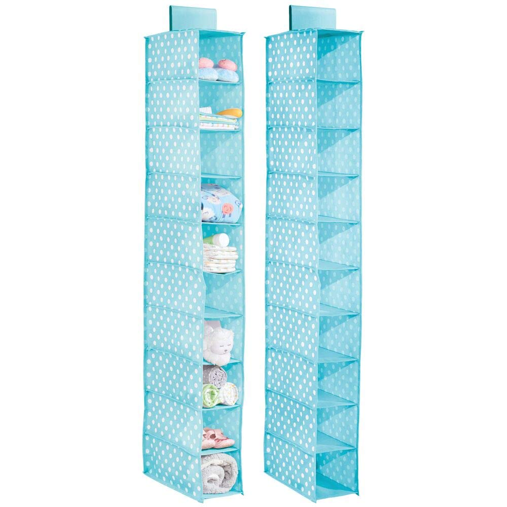 mDesign Set of 2 Hanging Shelves – Hanging Storage Unit for the Nursery with 10 Compartments – Nursery Shelves for Baby Clothing, Nappies, Toys and More – Turquoise Blue/White Dots