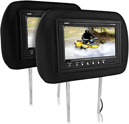 NEW Pyle PAIR PL71PHB Adjustable Headrest with Built-in 7/'/' TFT-LCD Monitors