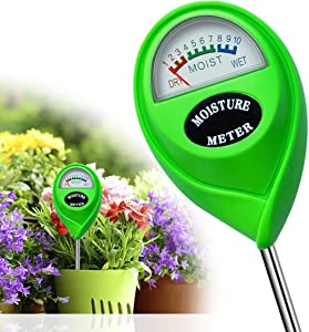 Soil Moisture Sensor Meter, Plant Moisture Meter, Garden Moisture Sensor Hygrometer Soil Water Monitor or Plant Care, Great for Garden, Lawn, Farm, Indoor & Outdoor Use (No Battery Needed)