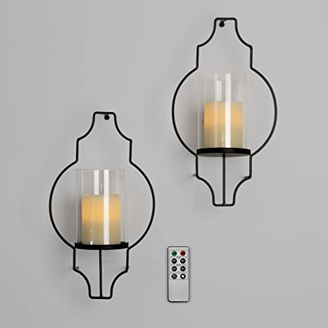Amazon Com Lamplust Flameless Candle Wall Sconces Glass Hurricane Holders With Flickering Led Pillar Candles Warm White Light Black Metal Frame Battery Operated Remote Included Set Of 2 Home Kitchen
