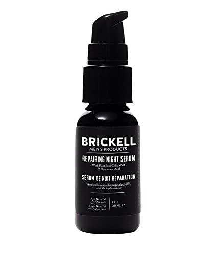 Brickell Mens Products – Serum Antiedad Reparador de Noche para Hombres – Serum Facial Natural y