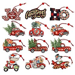 Christmas Farmhouse Home Decor 12 Pieces Christmas Ornaments Red Truck Christmas Tree Decoration Wooden Farmhouse Hanging Crafts