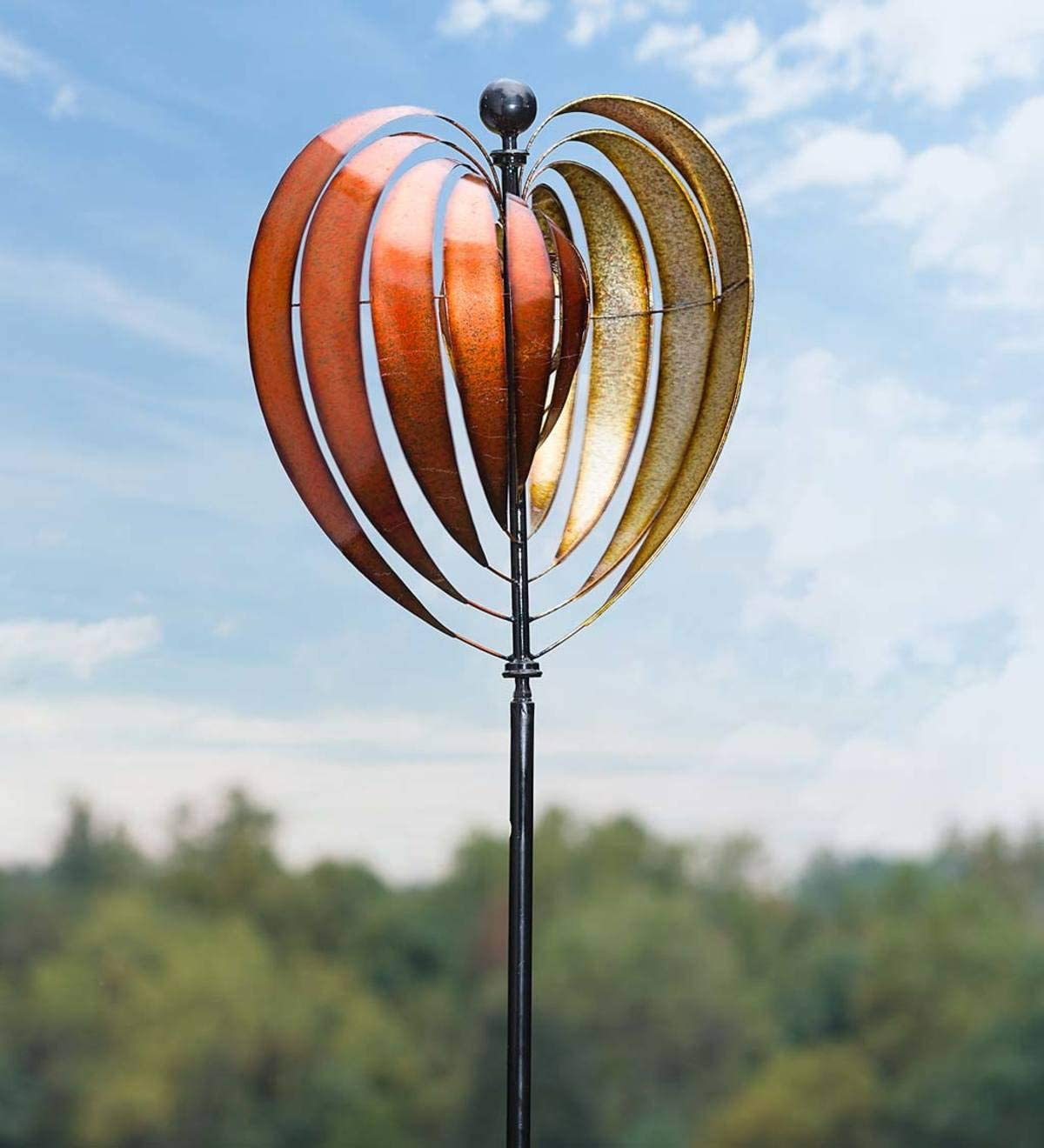 Oversized Tall Heart-Shaped Ribbons Painted Metal Wind Spinner with Finial and Ground-Mount Stand for Yard, Garden and Landscape, 20