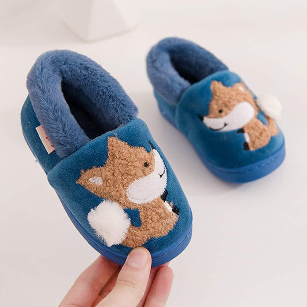 Holynissl Boys Girls Slippers Warm Fur House Slippers for Kids Non Slip Toddler Cute Home Slipper