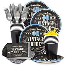 Costume Supercenter BBKIT693 Vintage Dude 40th Birthday Party Standard Tableware Kit