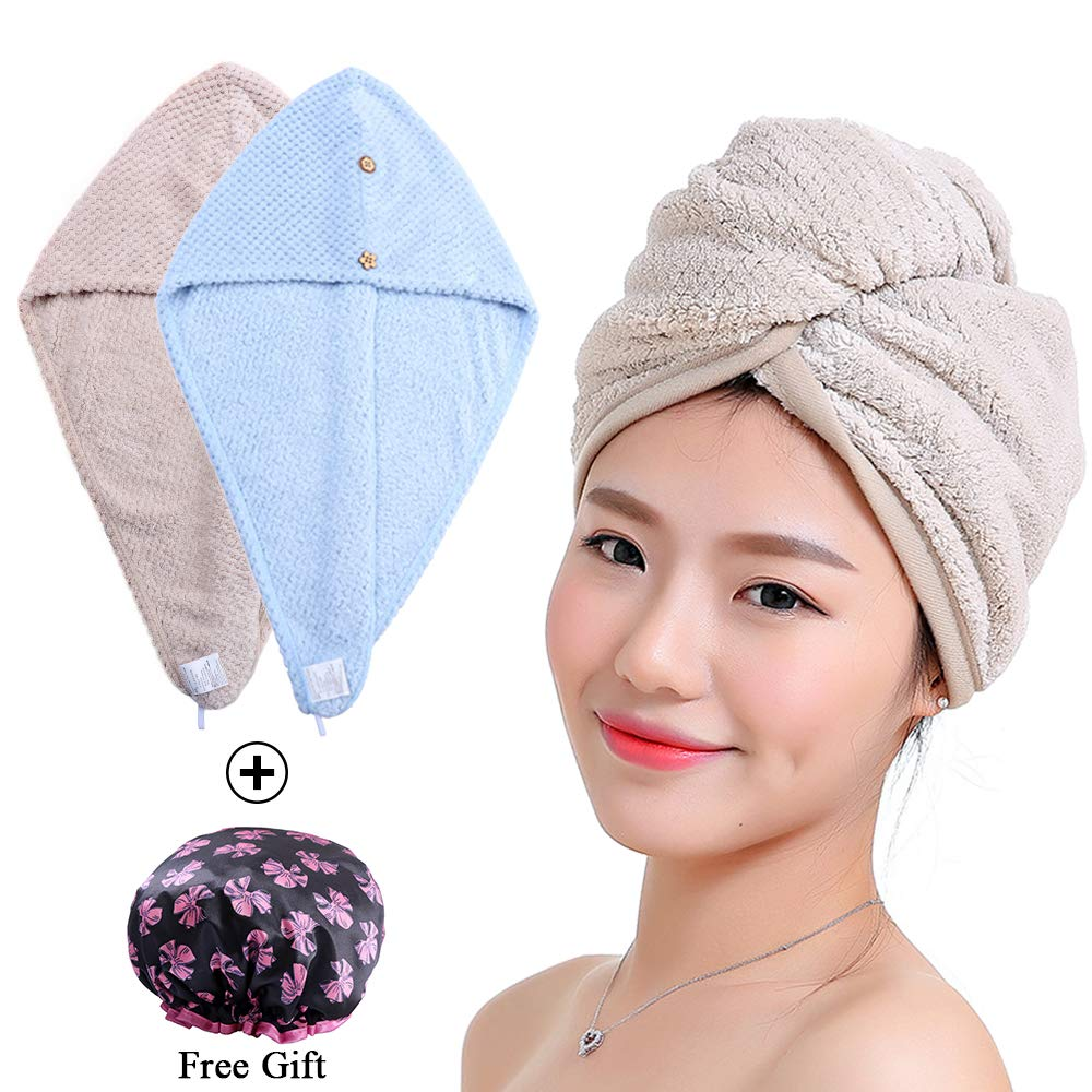 Asciugamano Asciugamano Capelli 2 Pezzi per Donna Super assorbente in Microfibra Pulsanti Asciugamano Turbante Capelli Asciugamano Beige e Blu