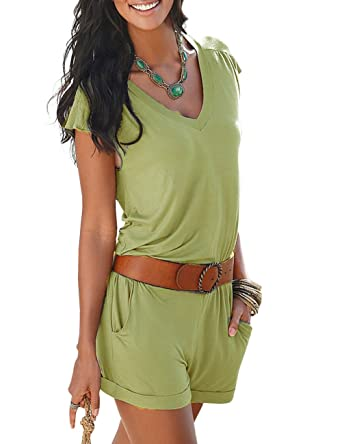 b0af0726575 Ninimour Women s Jumpsuit Green Green L  Amazon.co.uk  Clothing