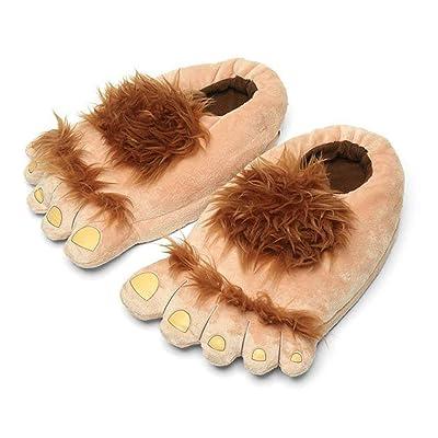 Ibeauti Men's Big Feet Furry Monster Adventure Slippers, Comfortable Novelty Warm Winter Hobbit Feet Slippers for Adults (Men: US 11) Brown | Slippers
