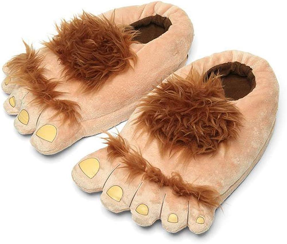 Ibeauti Men's Big Feet Furry Monster Adventure Slippers, Comfortable Novelty Warm Winter Hobbit Feet Slippers for Adults (Men: US 11) Brown
