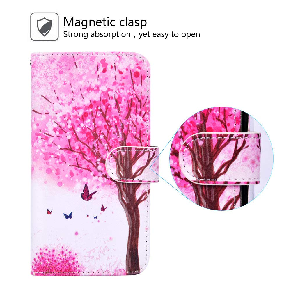 Urbeutyke Huawei Mate 20 Pro Wallet Case, Huawei Mate 20 Pro Case, Premium PU Leather Flip Folio Case Cover with Wrist Strap, Card Holder, Cash Pocket, Kickstand for Huawei Mate 20 Pro - Pink tree