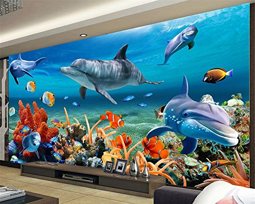 [Customize,Contact Us],3D Mural Wallpaper for Kid Underwater Dolphin Fish Wallpaper Background Wallpaper for Walls 3 D Tapety,by ZLJTYN