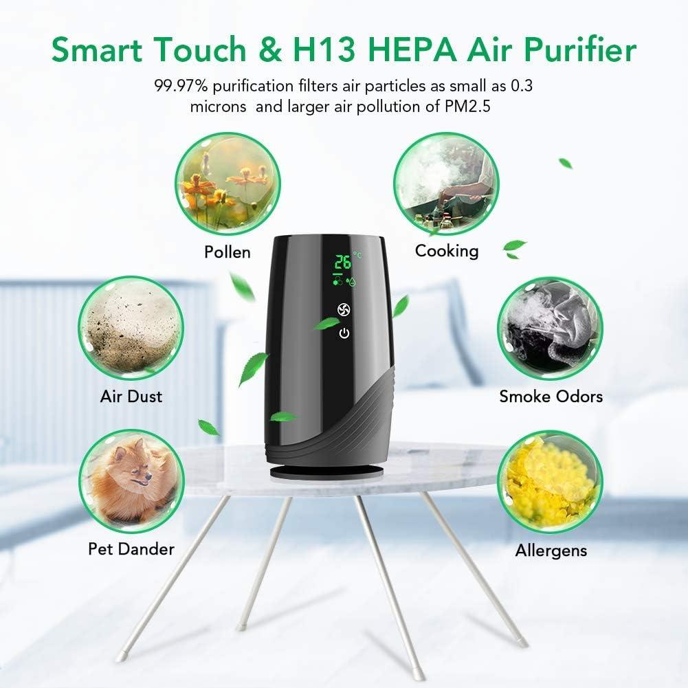 Odori Fumo Rimuove 99.97/% di Allergeni USB Purificatore Aria Portatile con Avviso Cambio Filtro Batteri Acekool Purificatore dAria per Casa Ufficio con HEPA Filtri A Carboni Attivi B-D01
