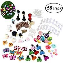 BESTOMZ Miniature Garden Ornaments, 58 Pieces Ornament Kits Set for DIY Fairy Garden Dollhouse Decor