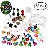 zen garden plants BESTOMZ Miniature Garden Ornaments, 58 Pieces Ornament Kits Set for DIY Fairy Garden Dollhouse Decor