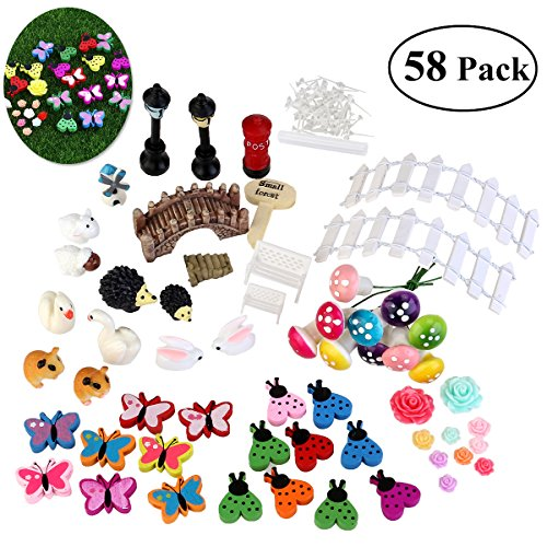 BESTOMZ Miniature Garden Ornaments, 58 Pieces Ornament Kits Set for DIY Fairy Garden Dollhouse Decor