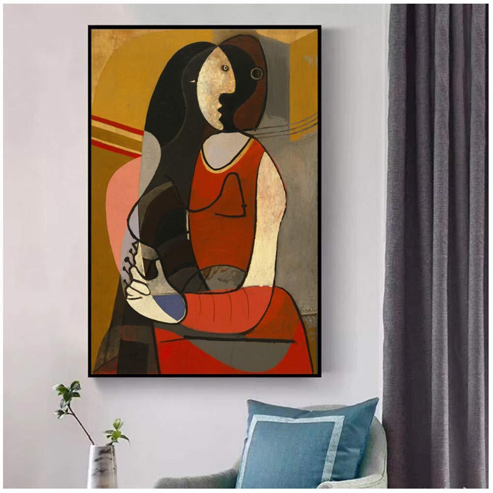 Mujer sentada Pinturas sobre lienzo Reproducciones de pinturas de fama mundial Picasso Cuadros abstractos de pared Decoraci/ón de la pared del hogar Imprimir en lienzo 60X90cmX1 piezas Sin marco