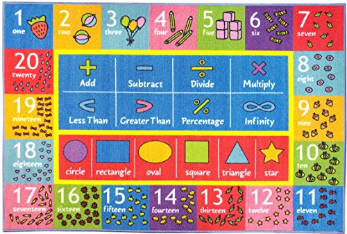 KC CUBS Playtime Collection Math Symbols, Numbers and Shapes Educational Learning Area Rug Carpet For Kids and Children Bedroom and Playroom (5' 0