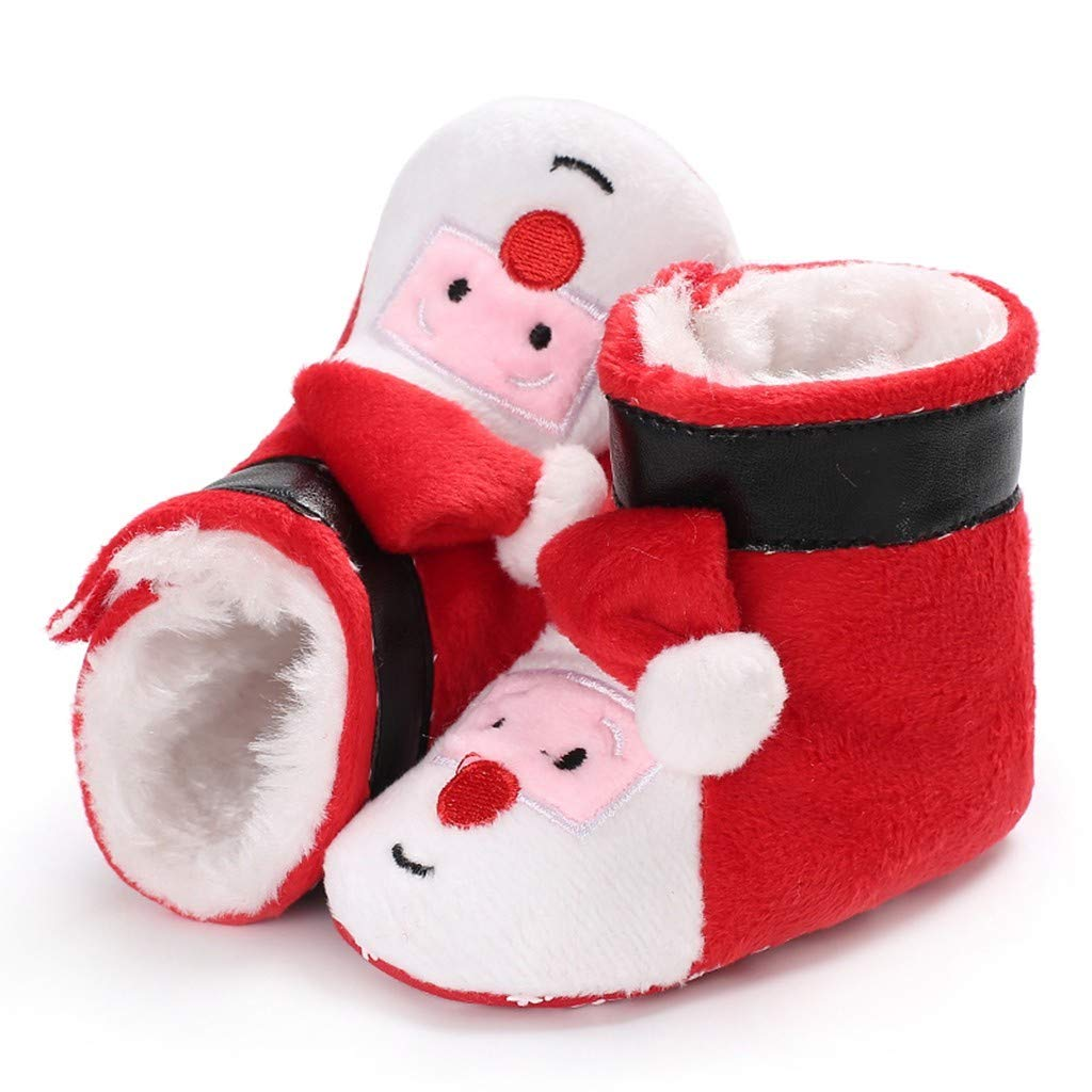 ZZBO Baby Christmas Shoes Santa Claus Warm Slippers Cotton Snow Boots Socks First Walking Shoes Infant Newborn Toddler Kid Booties Crib Winter Anti-Slip Safe for Baby Boys /& Girls
